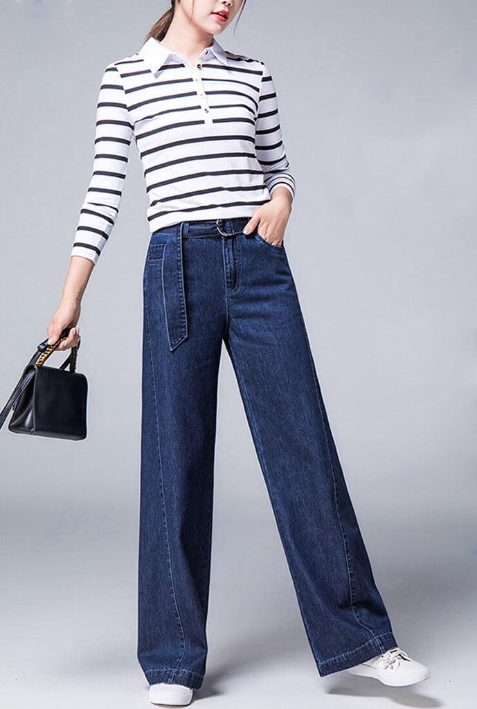 High Waist Loose Wide Jeans With Belt