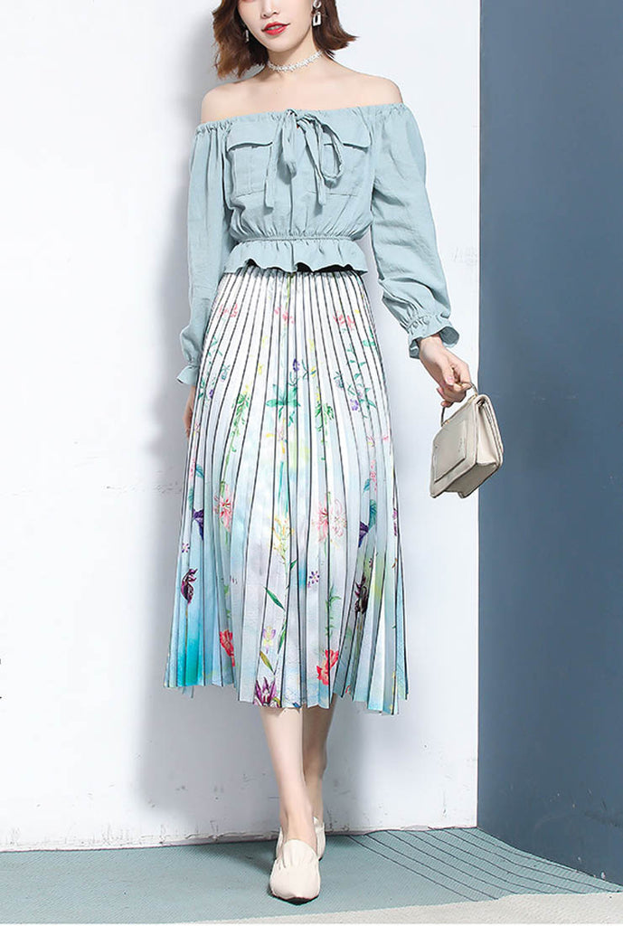 High Waist Printed Pleated Long Skirt