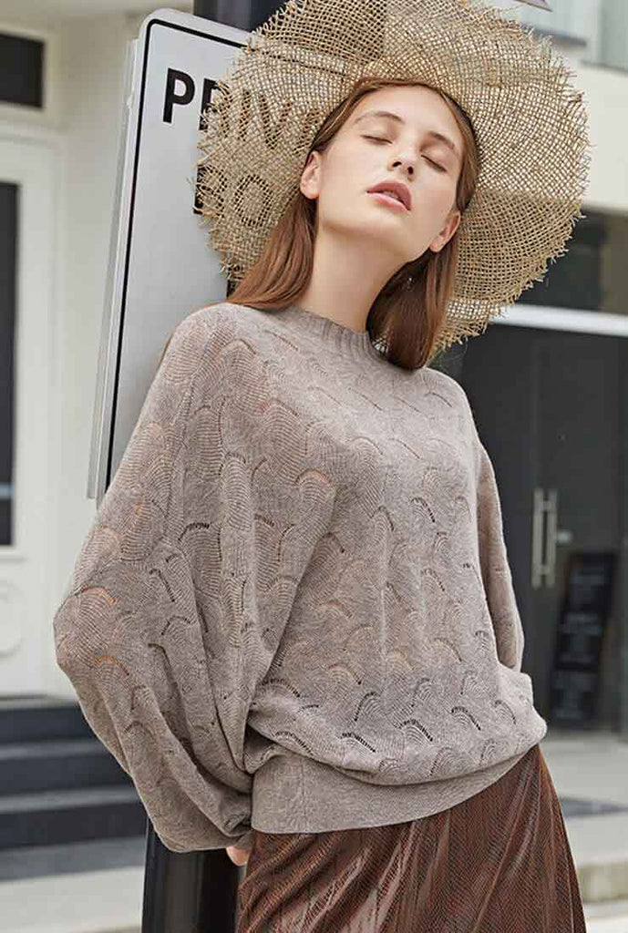 Hollow Solid Color Pullover Sweater