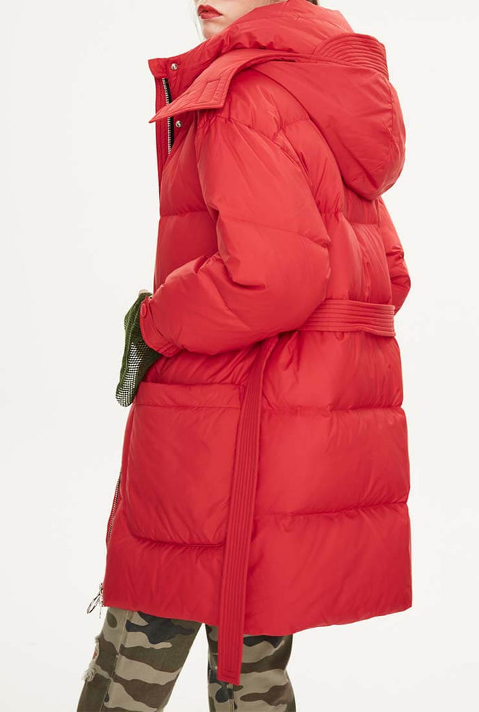 Hooded  Belted Down Puffer Long Jacket