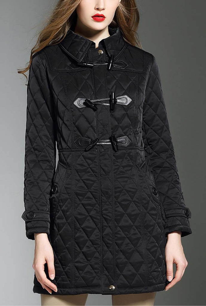 Horn Buckle Loose Quilted Puffer Jacket
