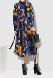 IG Trend Lapel Floral Print Maxi Shift Dress