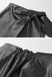 Irregular Leather High Waist A-line Skirt