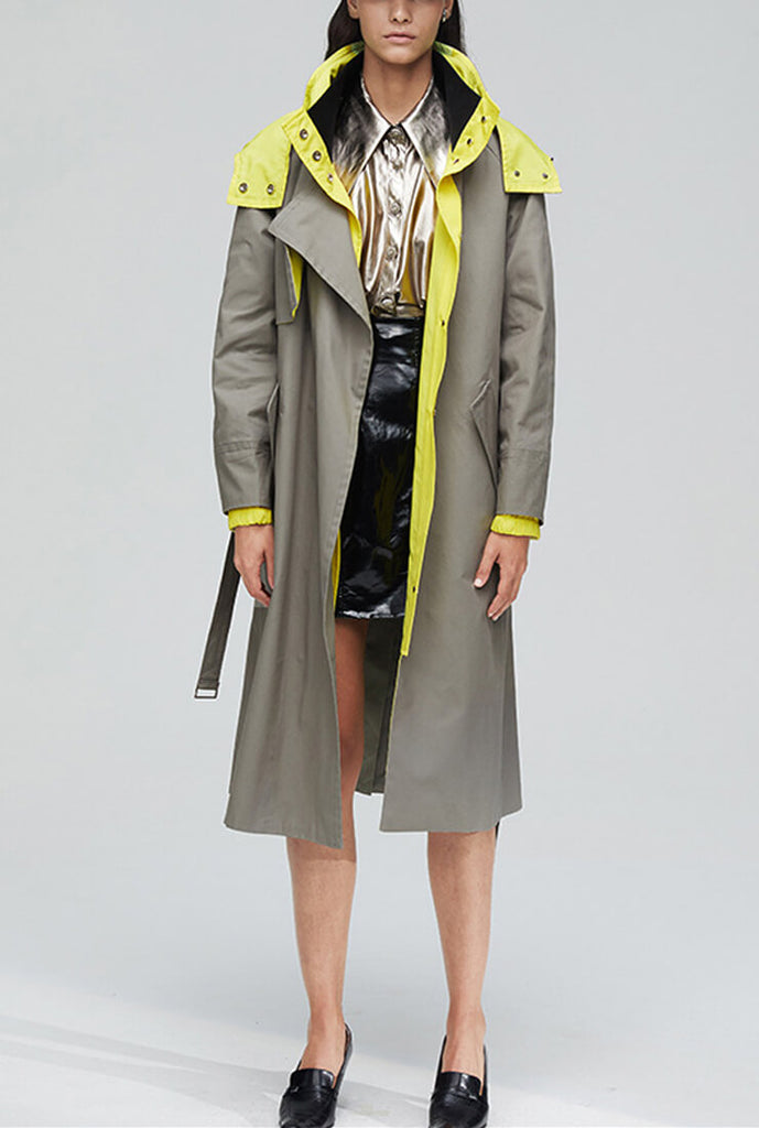 Khaki Hooded Trench Long Coat