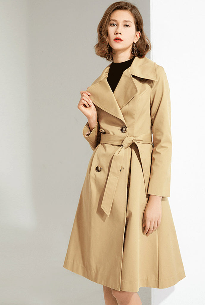 Khaki Lapel Thin Trench Coat
