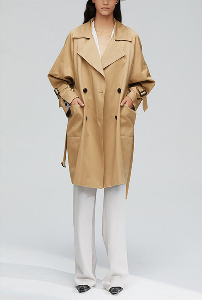 Khaki Loose Mid-length Trench Coat