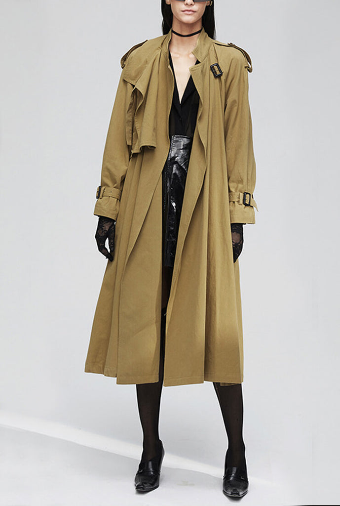 Khaki Overknee Long Trench Coat