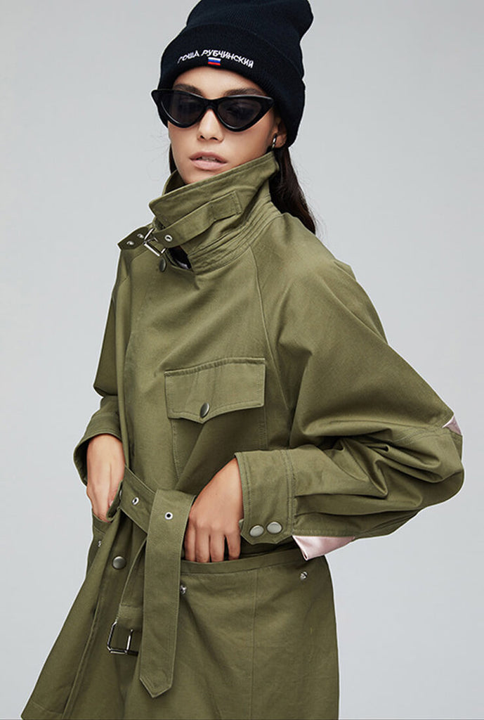 Khaki Waist Short Trench Coat