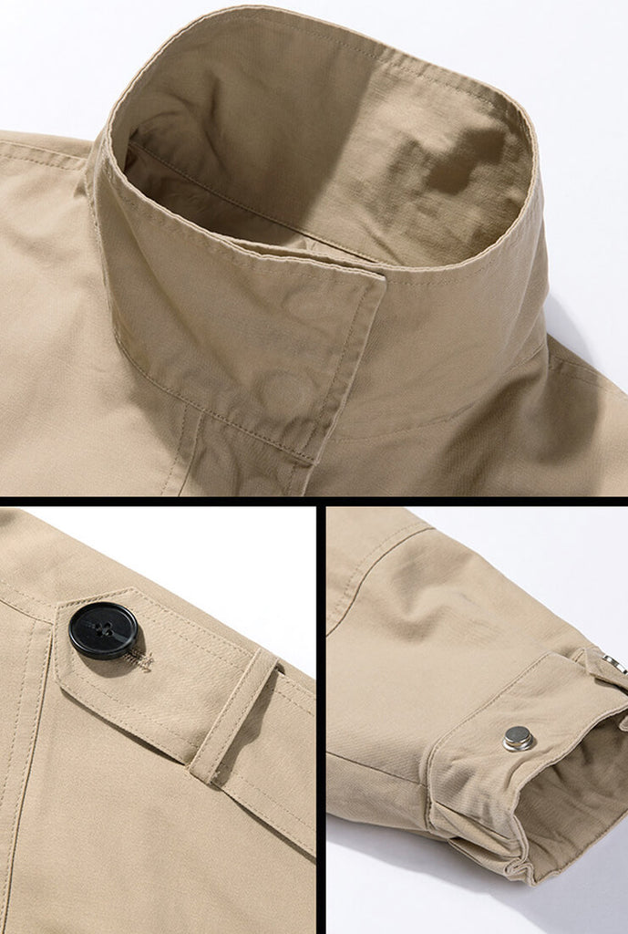 Khaki Worker loose casual Trench Coat