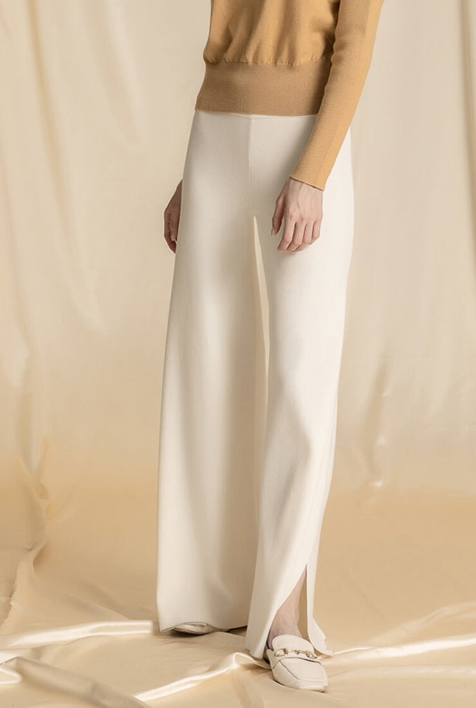 Knitted High Waist Casual Wide Pants