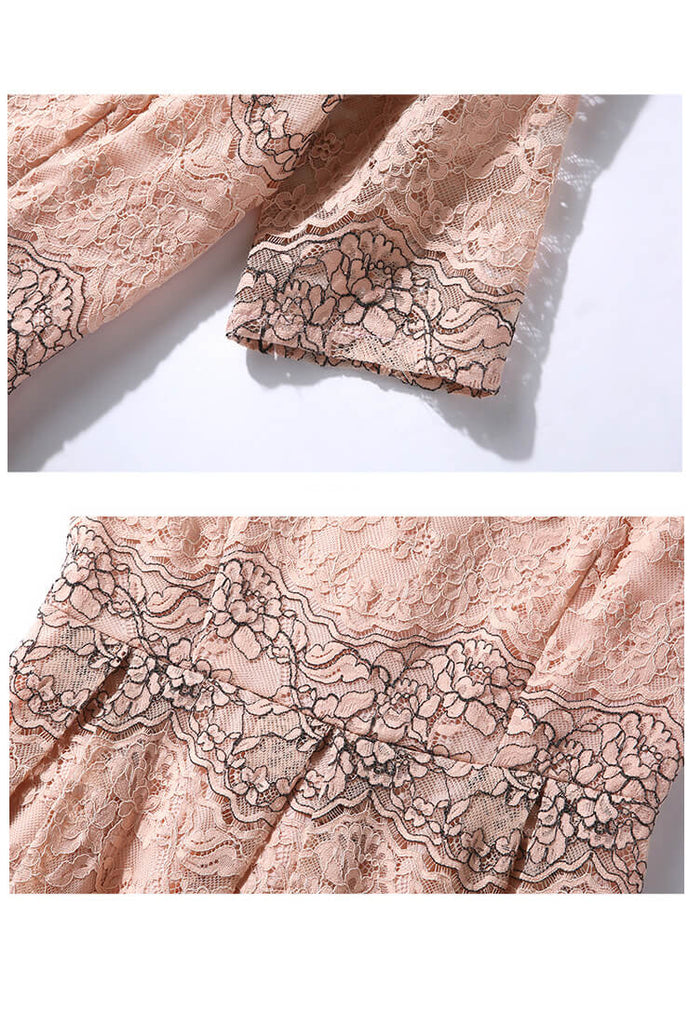 Pink Lace Cutout Slim Midi Dress-detail