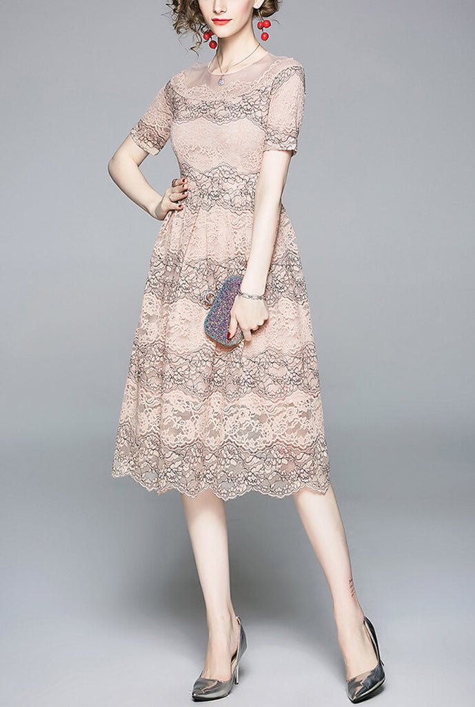 Pink Lace Cutout Slim Midi Dress