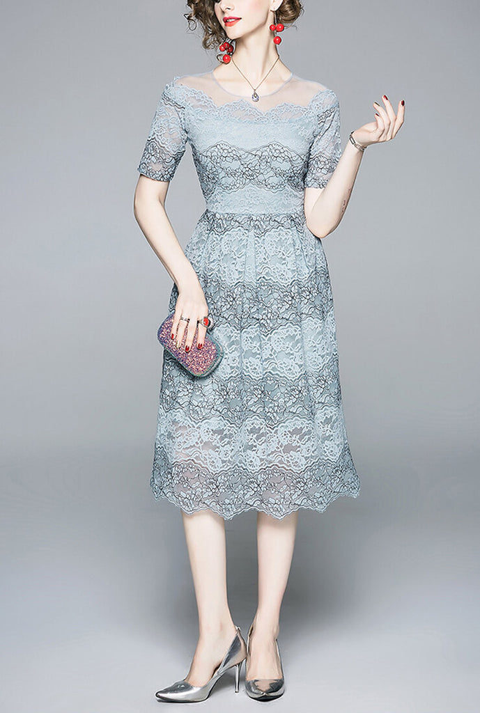 Blue Lace Cutout Slim Midi Dress