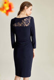 Lace Elegant Dark Blue Midi Bodycon Dress