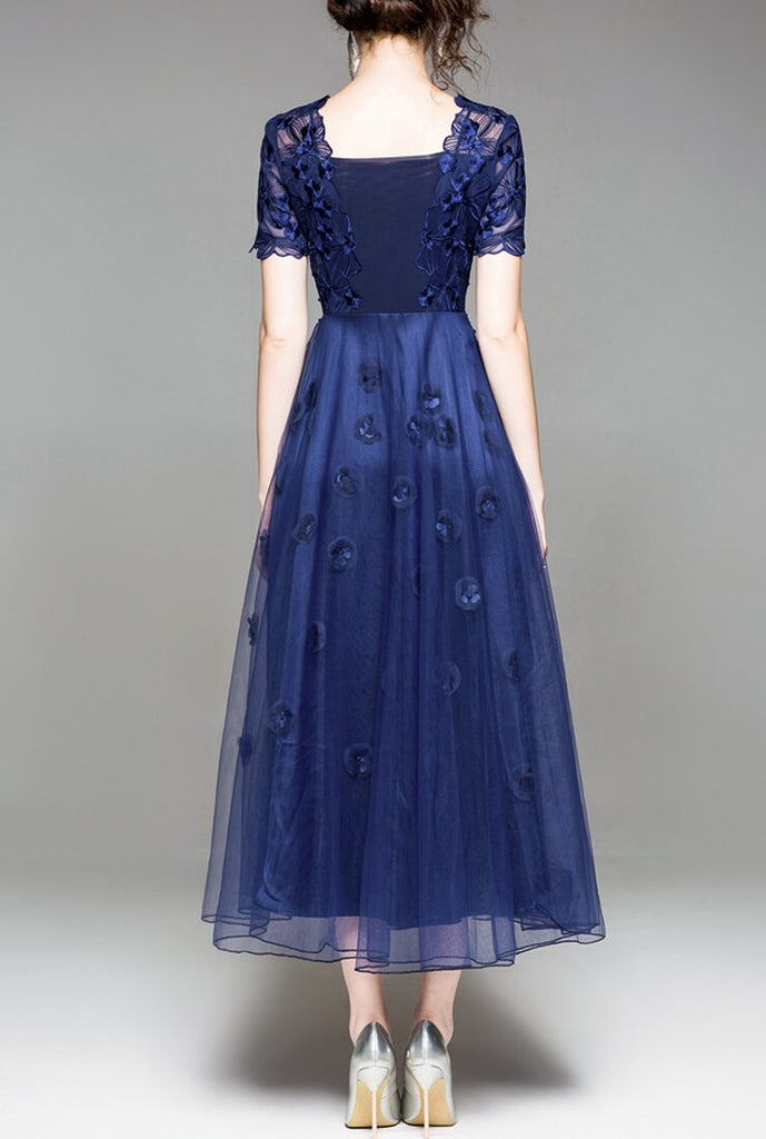 Lace Embroidered Blue Evening Dress