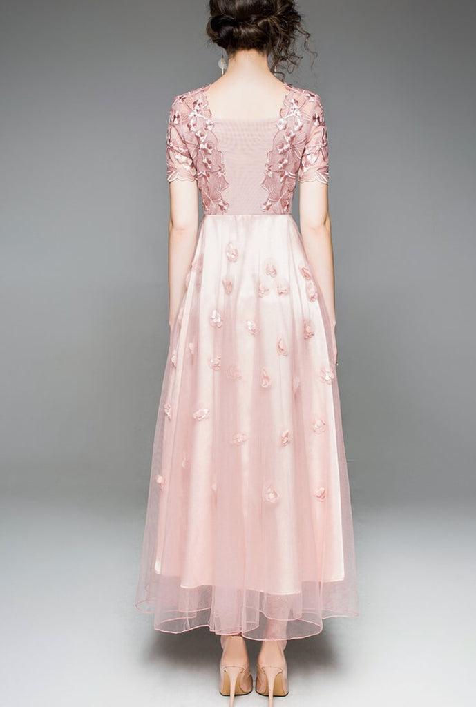 Lace Embroidered Pink Evening Dress