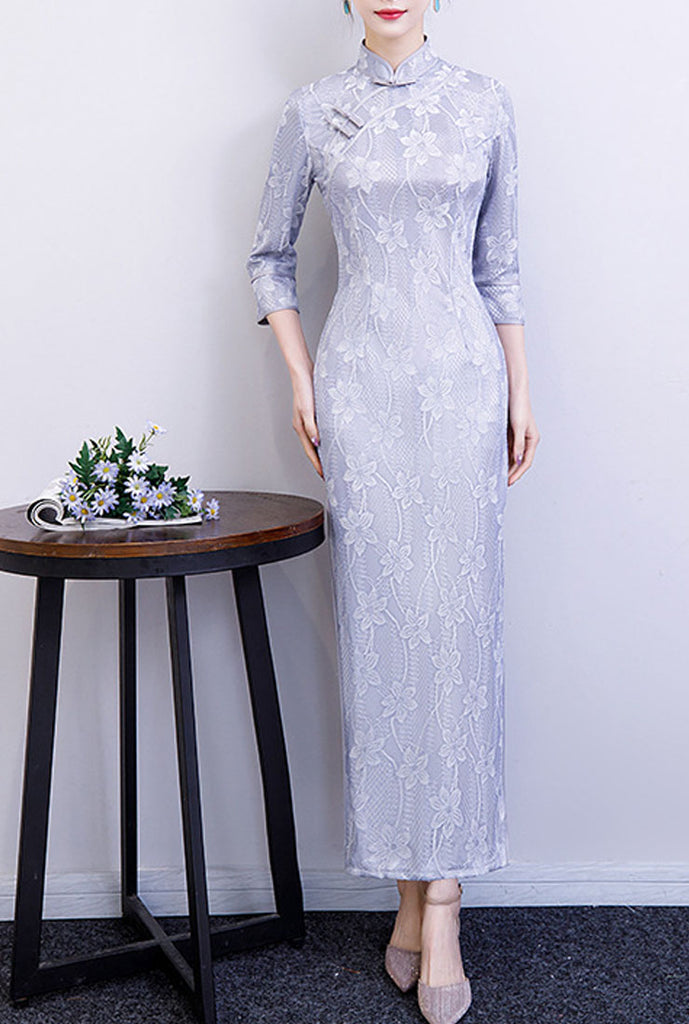 Lace Floral Embroidered Silk Cheongsam Maxi Dress