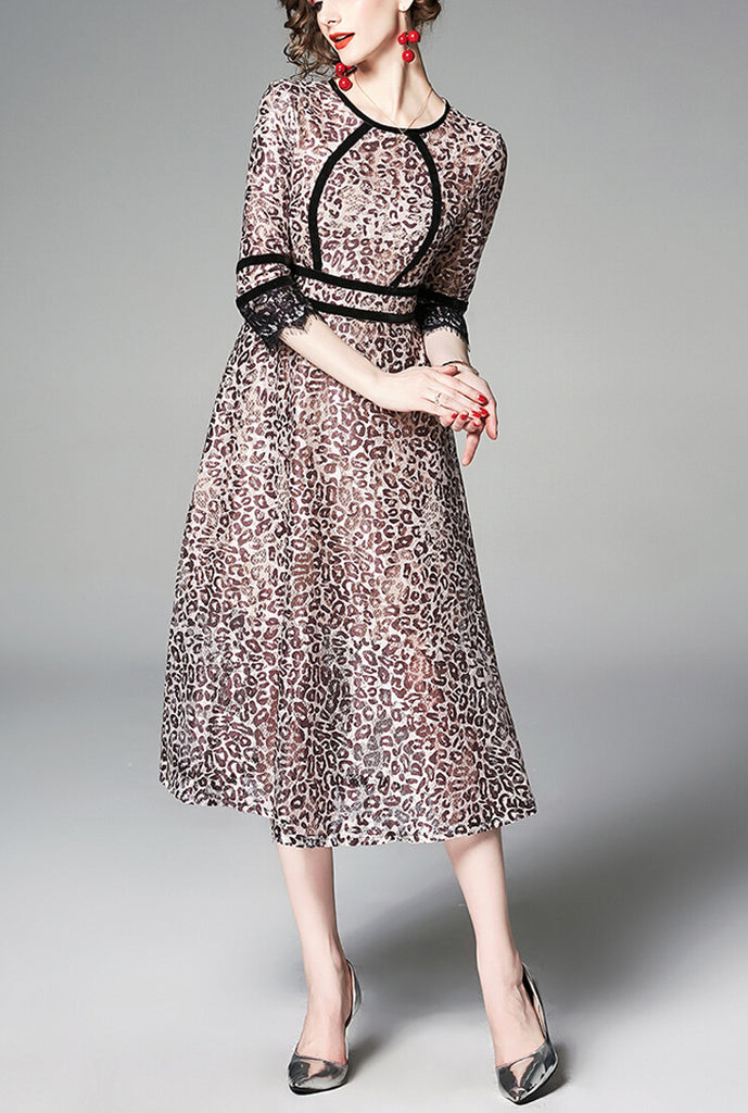 Lace Leopard Print Slim Midi Dress