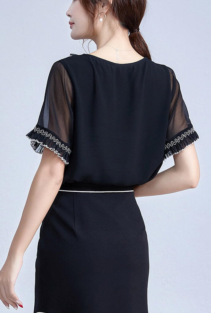 Lace Loose Chiffon Short Sleeve Shirt