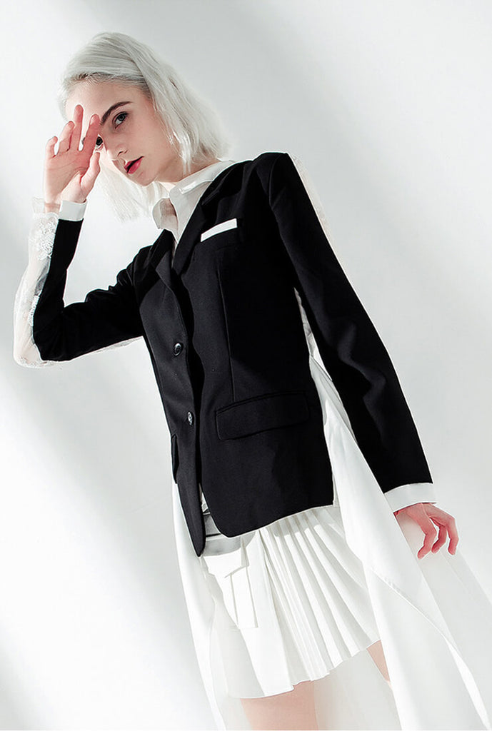 Lace Shirt Stitching Black Blazer