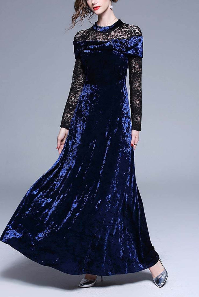 Lace Stitching Velvet Party Maxi Dress