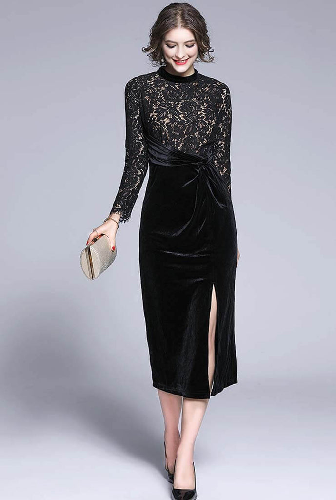 Lace Stitching Velvet Wrap Maxi Dress