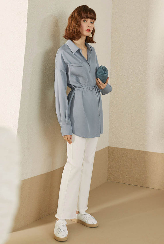 Lace Up Loose Mid-length Tencel Shirt