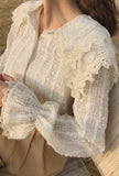 Lantern Sleeve See-Through Lace Blouse