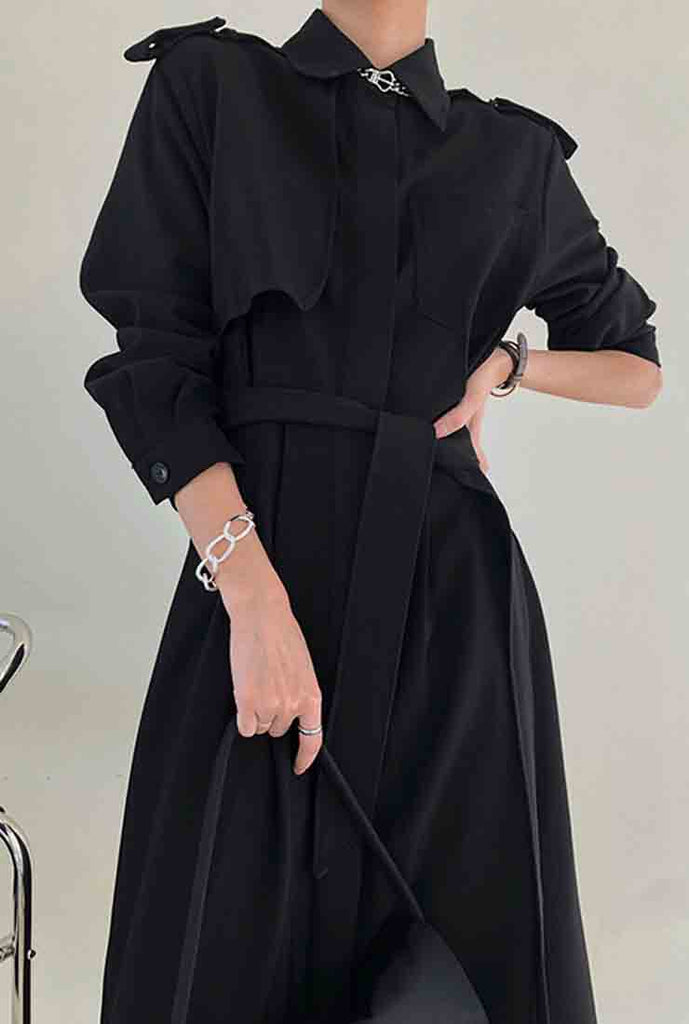 Lapel Collar Belted Trench Coat With Epaulette