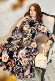Lapel Collar Flare Sleeves Floral Maxi Dress