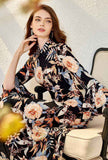 Lapel Collar Flare Sleeves Floral Midi Dress