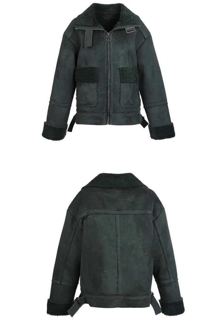 Lapel Collar Fleece Patchwork Short Jacket