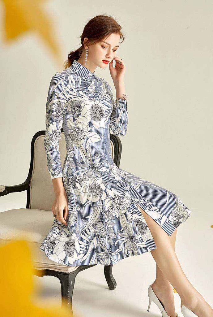 Lapel Collar Floral Print Single-breasted Midi Dress