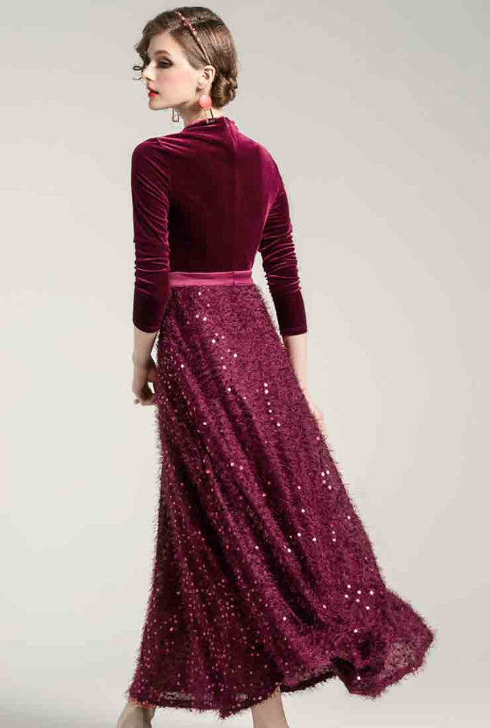 Lapel Collar Sequin Fringed Velvet Maxi Dress