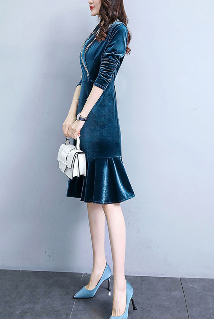 Lapel Collar V-neck Velvet Fishtail Midi Dress