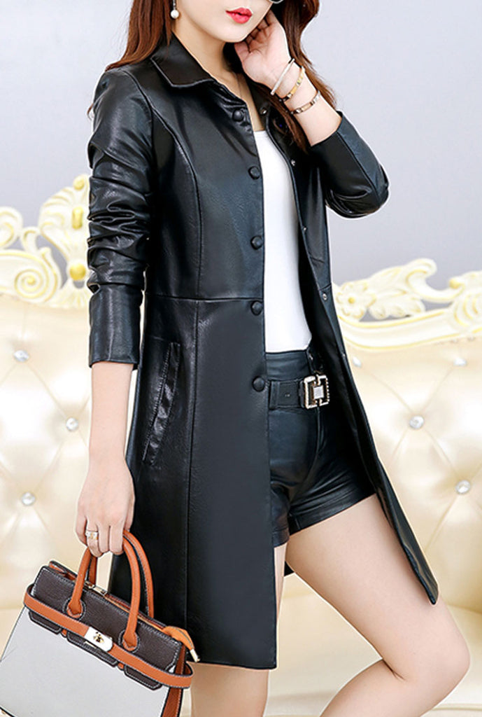 Lapel Leather Mid-length Trench Coat