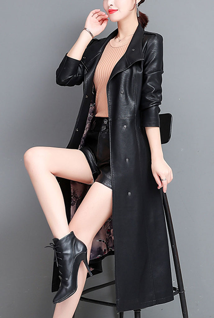 Leather Lace-up Long Trench Coat