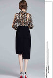 Leopard Print Midi Dress With Bazer Collar
