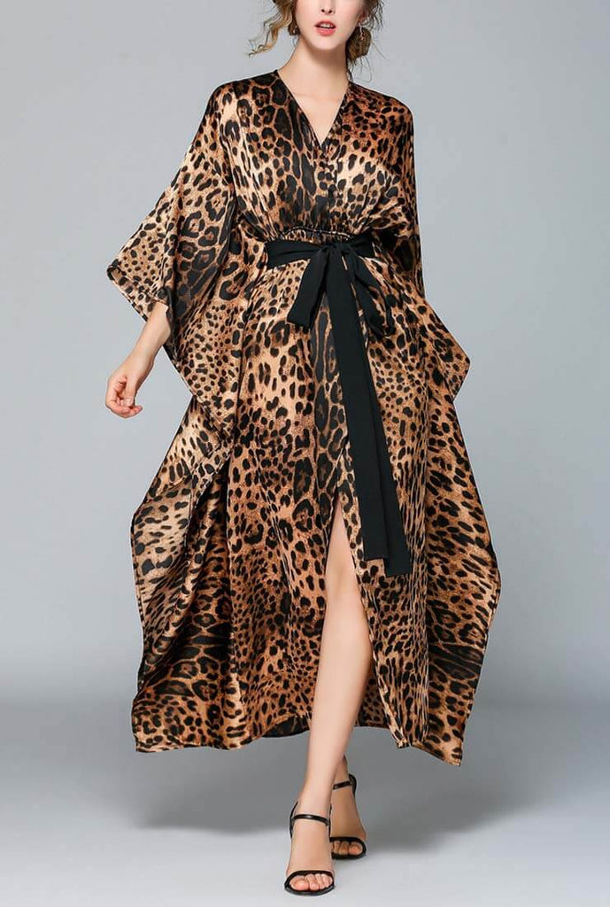 Leopard Printed Loose V-neck Maxi Dress