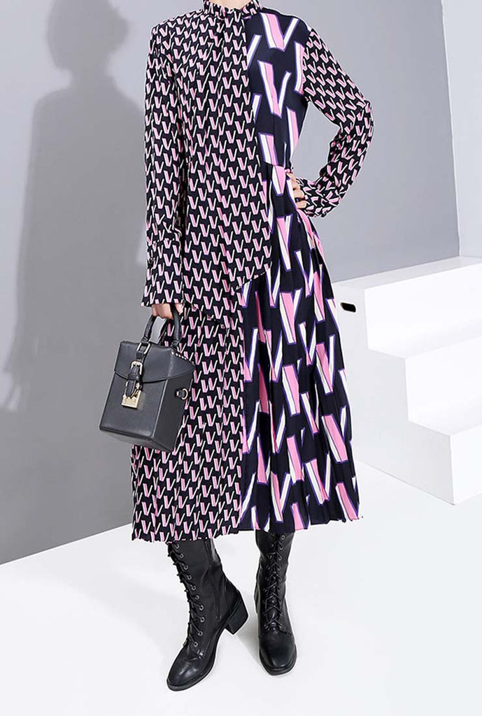 Long Sleeves Bow Tie Loose-Fit Maxi Dress
