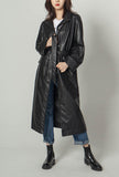 Long Black PU Leather Trench Coat