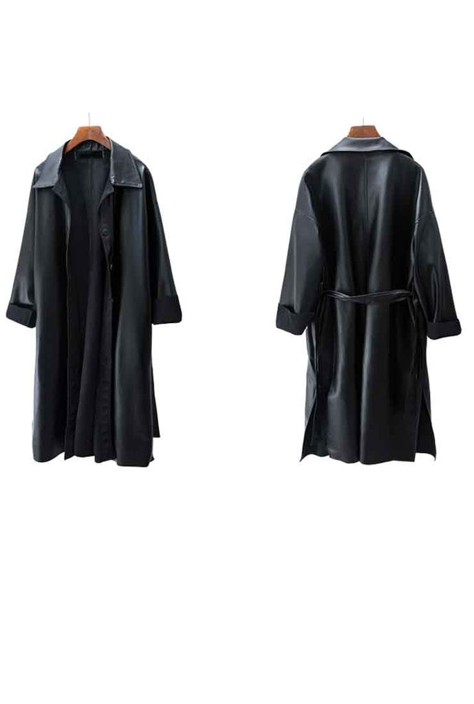 Long Black PU Leather Trench Coat With Belt