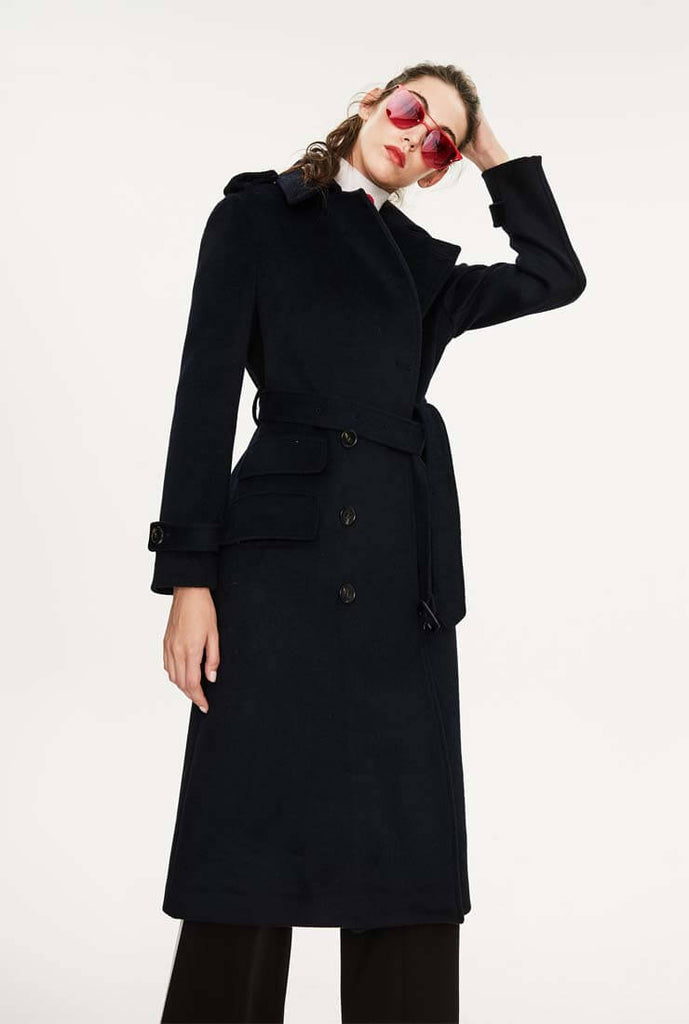 Long Chic Belted Wool Blend Coat