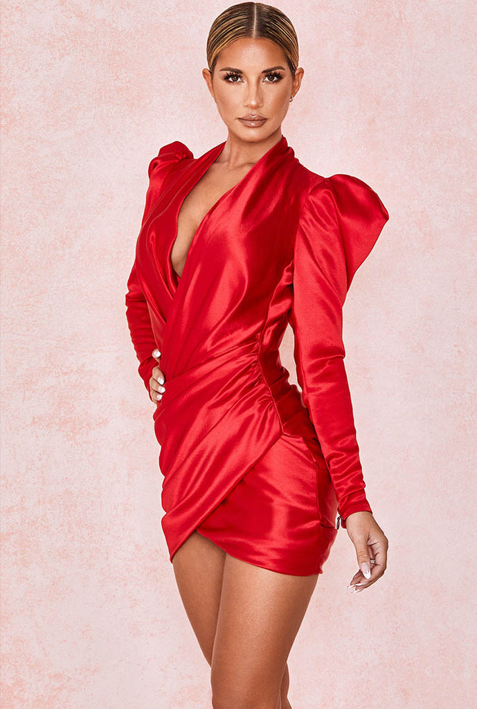 Long Puff Sleeve V-neck Red Satin Mini Dress