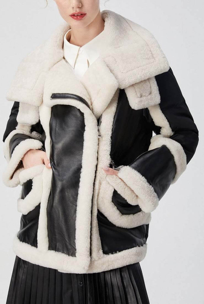 Long Shearling Leather Jacket