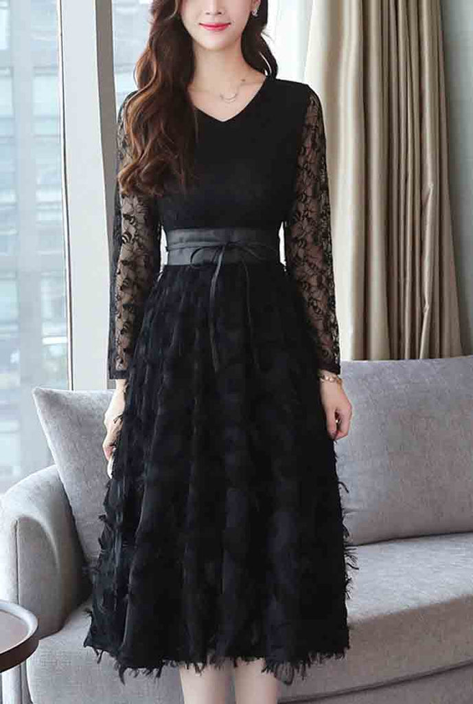 Long Sleeve Black Lace Midi Dress