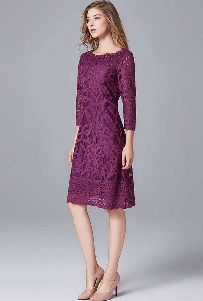 Long Sleeve Embroidered Lace Mini Dress Plus Size