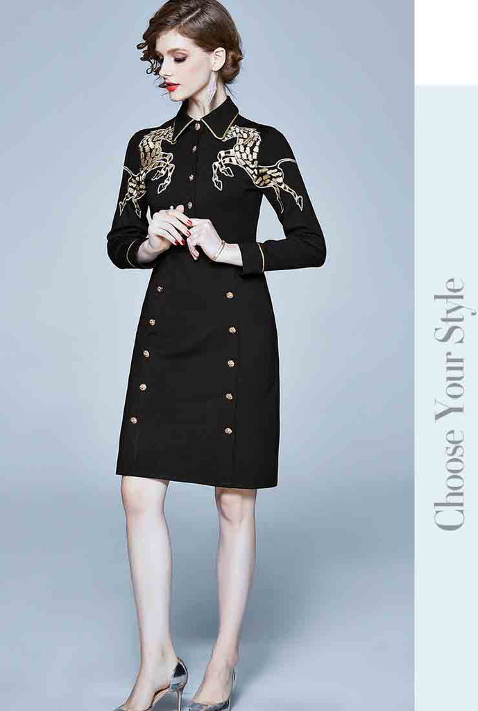 Long Sleeve Embroidered Lapel Midi Dress