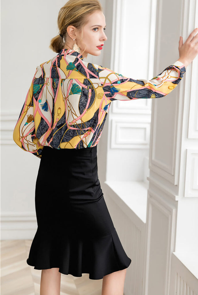 Long Sleeve Floral Loose Chiffon Shirt