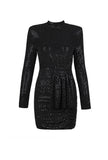 Long Sleeve Sequined Waist Black Mini Dress